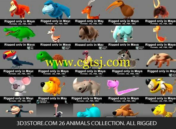 26个卡通动物3D模型合辑的图片1