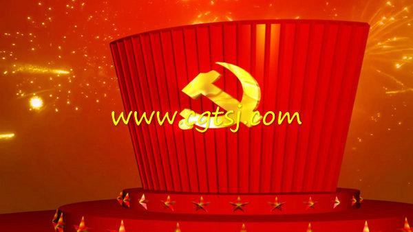 党政类建党党庆红背景led大屏幕背景视频素材的图片2