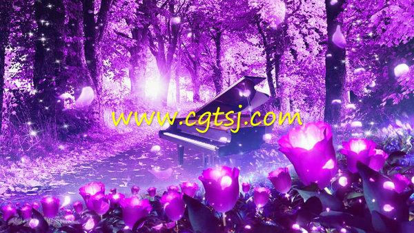 森林落叶钢琴紫色高端婚礼LED大屏幕背景视频素材的图片1