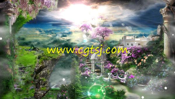 森系婚礼唯美欧式田园童话仙境城堡花瓣婚庆LED视频背景素材的图片1