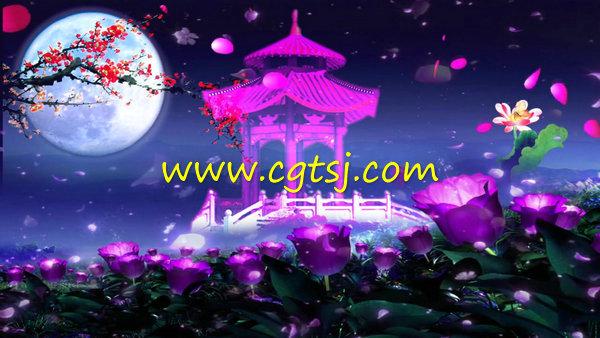 月亮凉亭花瓣中秋节舞台晚会led大屏幕背景视频素材的图片1