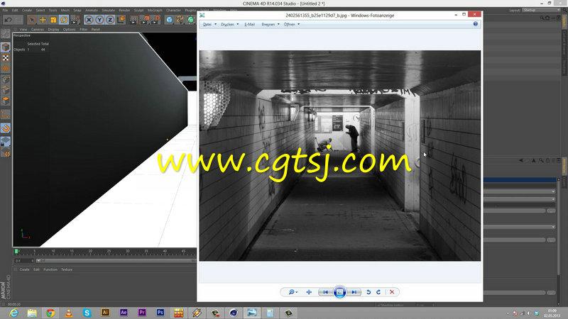 C4D中Vray火车站楼廊制作视频教程的图片3