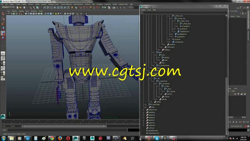 >> maya机器人骨骼控制动画训练视频教程