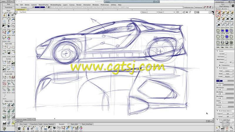 Autodesk Alias跑车草图工业设计训练视频教程的图片1