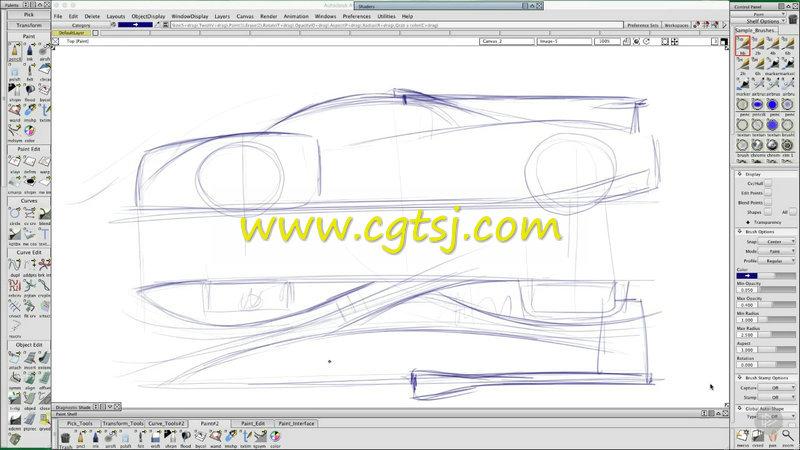 Autodesk Alias跑车草图工业设计训练视频教程的图片3