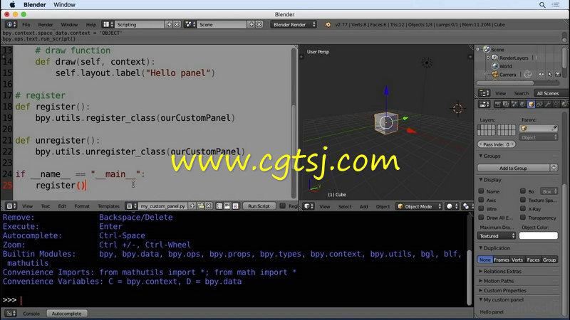 Blender中Python语言脚本技术视频教程的图片2