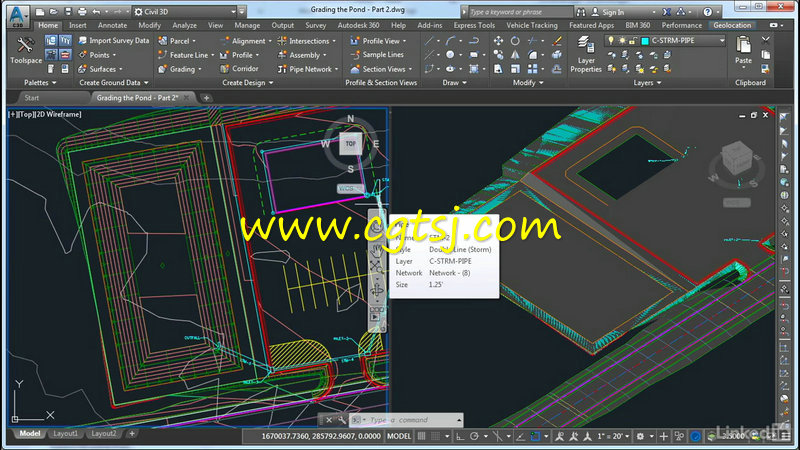 AutoCAD Civil 3D场地项目设计视频教程的图片1