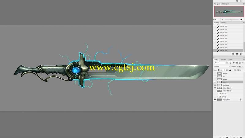 游戏武器装备概念艺术绘画视频教程的图片3