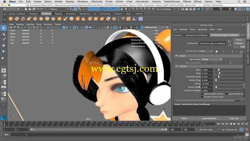 Maya动画人物头发制作训练视频教程的图片3