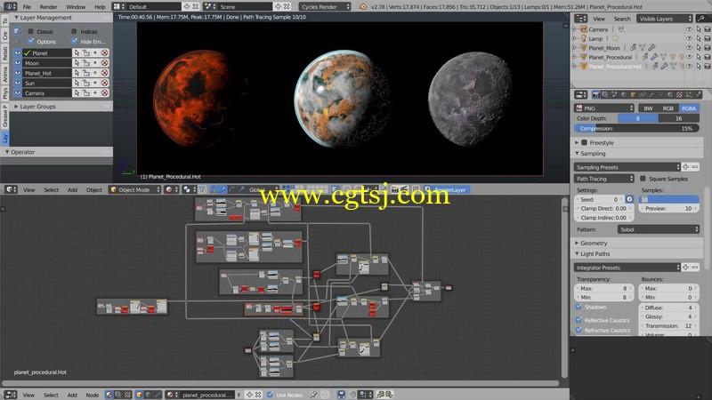 Blender星球宇宙空间视觉特效实例制作视频教程的图片1